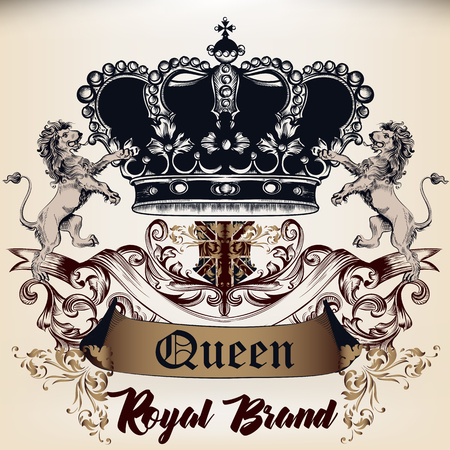 Heraldic Royal design of logotype in antique style with crown, lions and ornament. Queen style