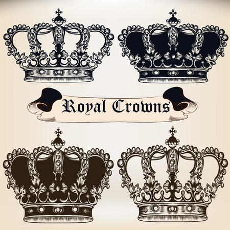 baroque: Collection of  vector king heraldic crowns for design