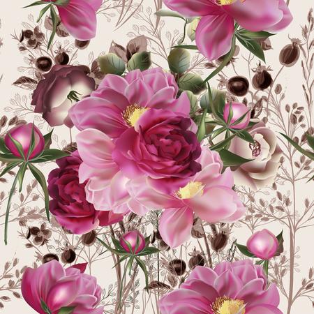 Mooi roos- en pioenbloempatroon in vintage stijl