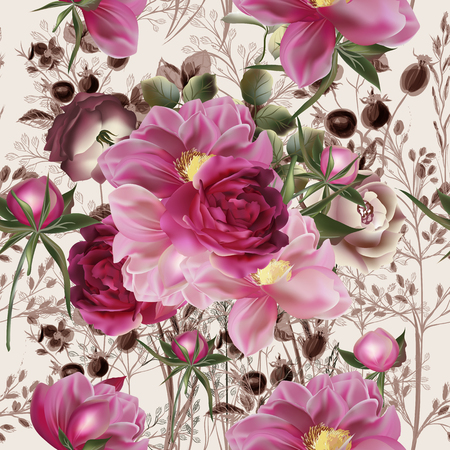 Beautiful rose and peony flower pattern in vintage style Illustration