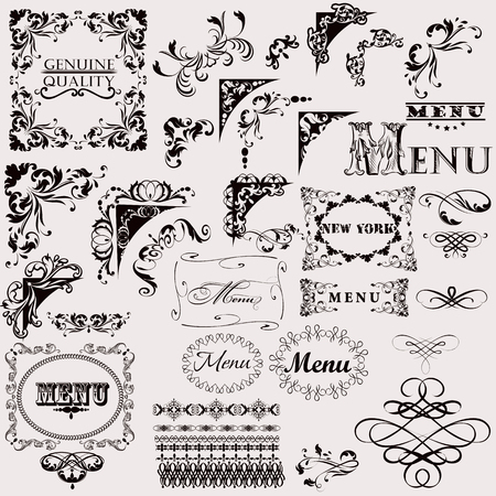 Set of hand drawn vector flourishes for design