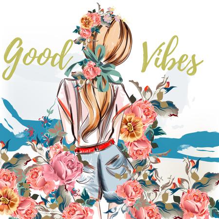 ファッション イラスト。水彩のバラに戻って立っている美しい少女。水彩風、いい感じ。ベクター デザイン