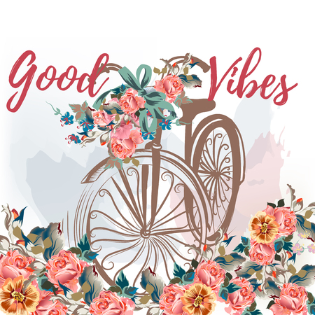 Cute rustic illustration with hand drawn bicycle and roses. Ideal for save the date