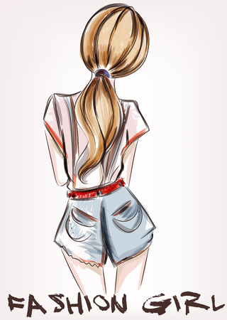 Fashion illustration with beautiful girl standing back Illustration