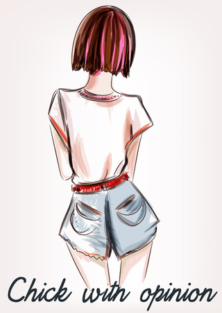 Fashion illustration with girl short hair standing back. Chick with opinion