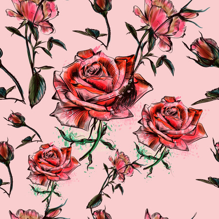 Beautiful watercolor pattern with roses in hand drawn watercolor style