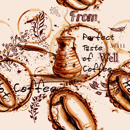 freshly: Coffee vector pattern illustration with coffee grain painted by print  from mug spots warm sepia color ideal for cafe labels Illustration