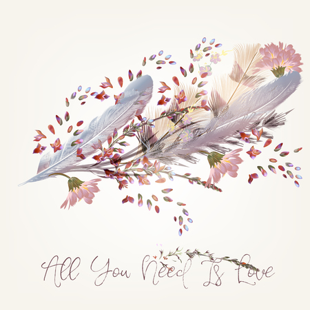 Fashion feather illustration or background for save the date cards 向量圖像