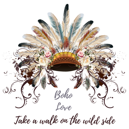 Fashion illustration head dress design in boho style with roses Illustration