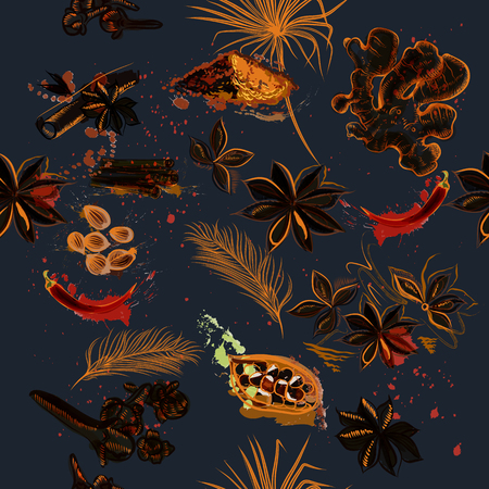 Kitchen creative background with anis stars, pepper, ginger, palm leafs and grunge spots Ilustração
