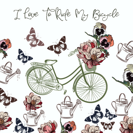 Cute design with bicycle and flowers. I love to ride my bicycle Çizim