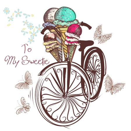 Bicycle with basket fully of ice cream and butterflies around it