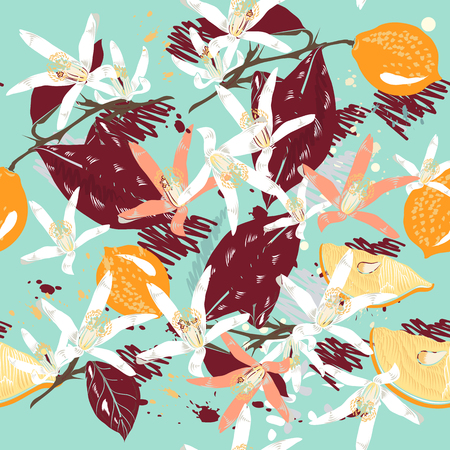 victorian wallpaper: Lemon and flowers pattern. Illustration