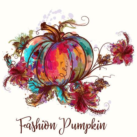Colorful pumpkin icon. Illustration
