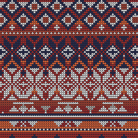 Christmas knitted pattern vector illustration of red blue and white background