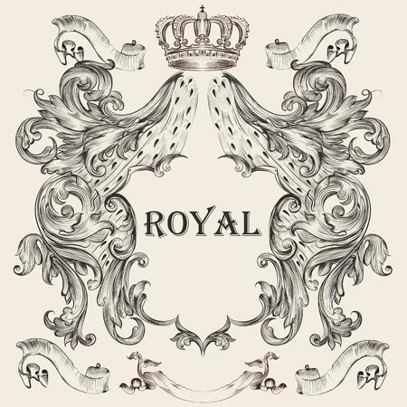 Schöner heraldischer Entwurf mit Schild, Krone in der Weinleseillustration. Vektorgrafik