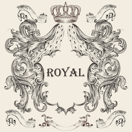 Beautiful heraldic design with shield, crown in vintage illustration.
