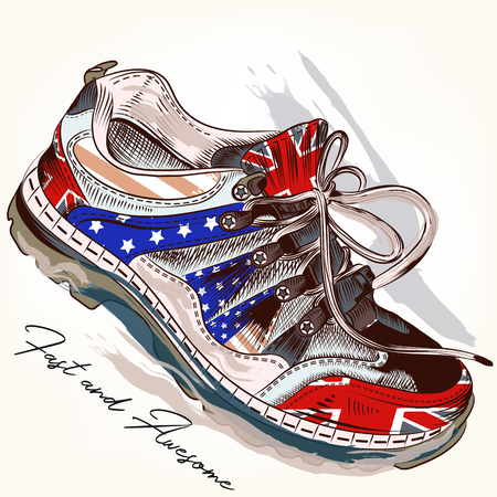 Rubber shoes decorated by USA and British flags icon.