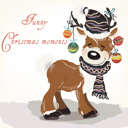 Christmas or New Year illustration with cute deer in hat, scarf and baubles. Retro style vector card.
