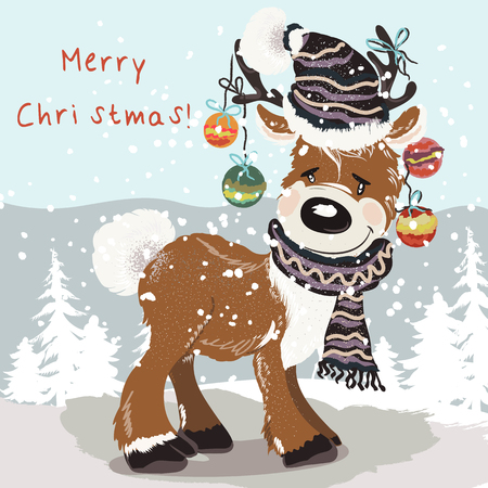 Christmas illustration with cute deer in hat, scarf between snowflakes.