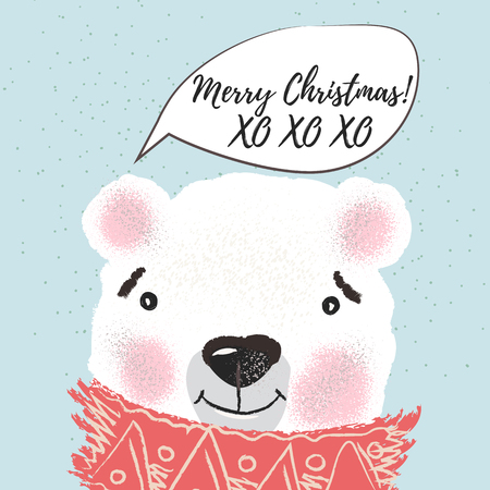 Christmas or New Year illustration with cute bear in scarf and snowflakes