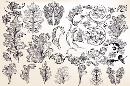 collection d & # 39 ; éléments floraux décoratifs vectoriels dans le style vintage
