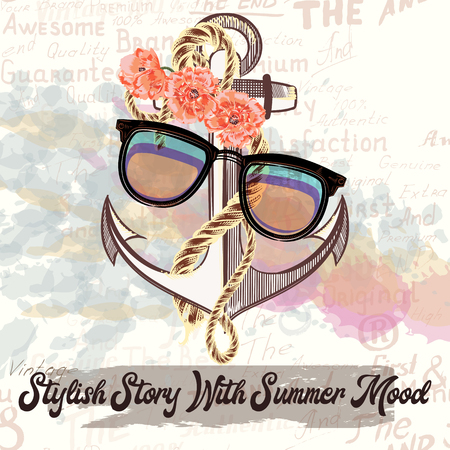 Fashion illustration with hipster glasses and anchor. Stylish story with summer mood. Illustration