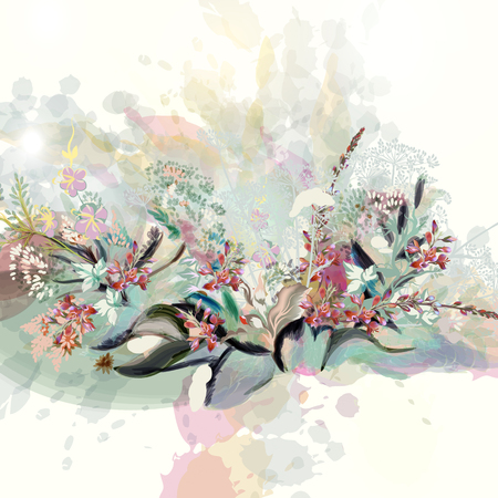 Beautiful floral vector illustration in watercolor style with flowers.