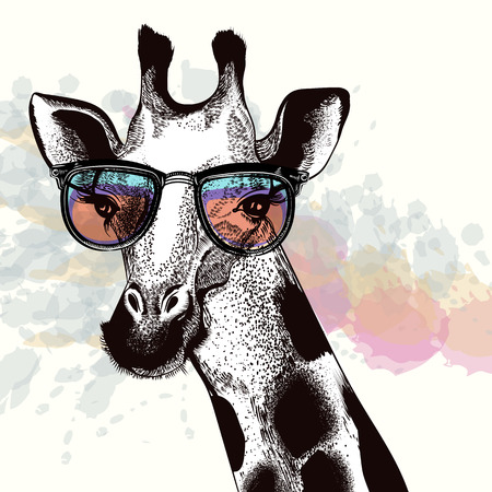 Fashion illustration with giraffe in hipster glasses.
