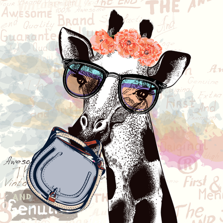 Fashion illustration with giraffe in hipster glasses holding female bag. Illustration