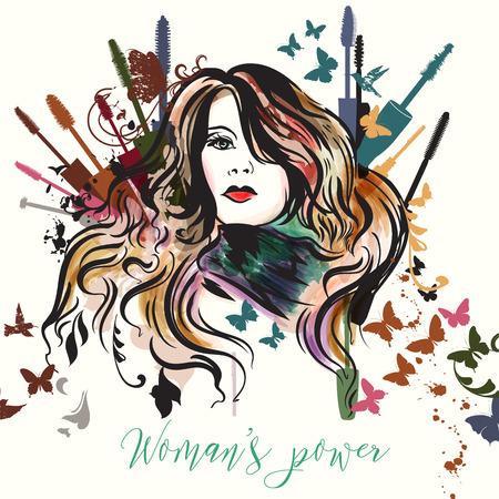 Fashion illustration with beautiful woman and colorful mascara Ilustrace