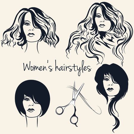 Collection of vector female hairstyles on beautiful women  イラスト・ベクター素材
