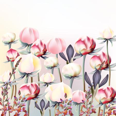 ピンクと白のピオニーの花を持つ美しいイラスト