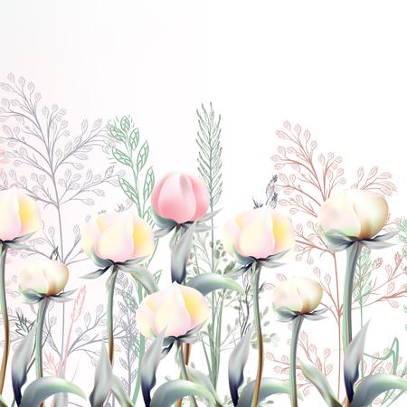白とピオニーの花と美しいベクターイラスト