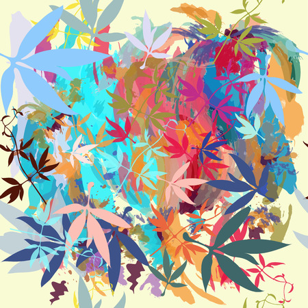 Beautiful pattern with colorful spots and leafs in watercolor colorful style Illustration