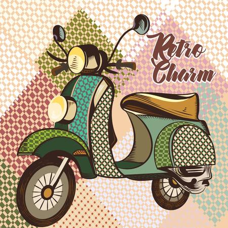 Fashion illustration with vintage bike and pattern Illustration
