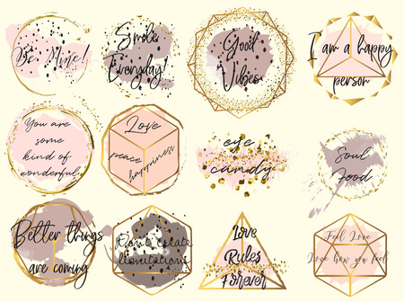 Set Of Phrases About Hair Hair Quotes Rose Gold Glitter And Royalty Free Cliparts Vectors And Stock Illustration Image 145003976