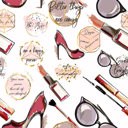 Trendy fashion vector wallpaper pattern with cosmetics, shoes, lipstick, mascara and lipstick.