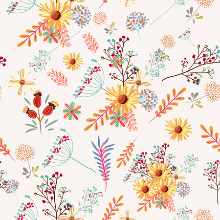 Floral pretty pattern with colorful pastel flowers Illustration
