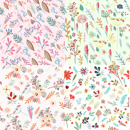 Big set of floral cute patterns with colorful rustic pastel flowers