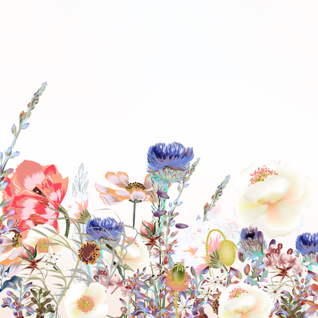 Floral illustration with field flowers  in vintage style 矢量图像