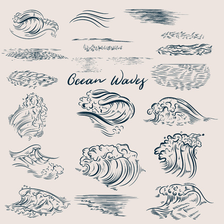 Big set of ocean hand drawn waves Ilustrace