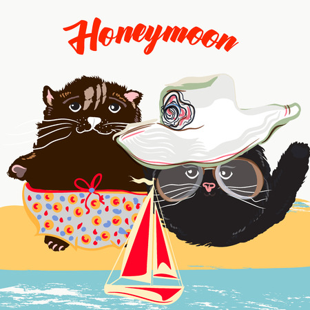 Cute summer poster illustration with pretty cat couple on vacations. Honeymoon