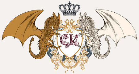 Illustration with heraldic coat of arms, crest and dragons ideal for logotype design Çizim