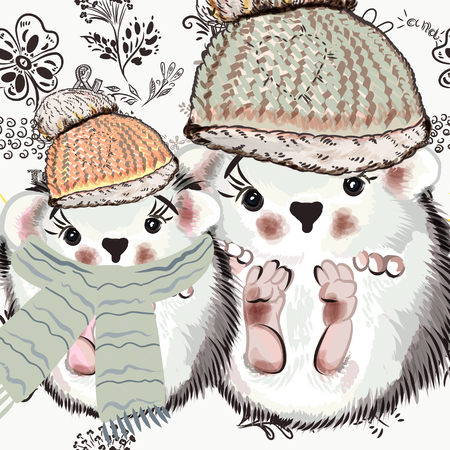 Cute illustration with doodles and pretty hedgehog. Vector illustration Vettoriali