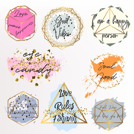 Set of vector golden frames with quotes