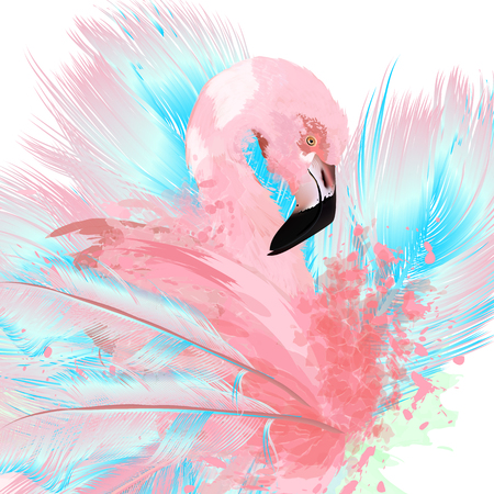 Beautiful vector illustration with drawn pink flamingo and blue feathers. Illustration