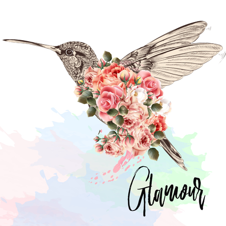 Beautiful fashion vector illustration with pink hummingbird and roses. Glamour lettering. Stock Illustratie