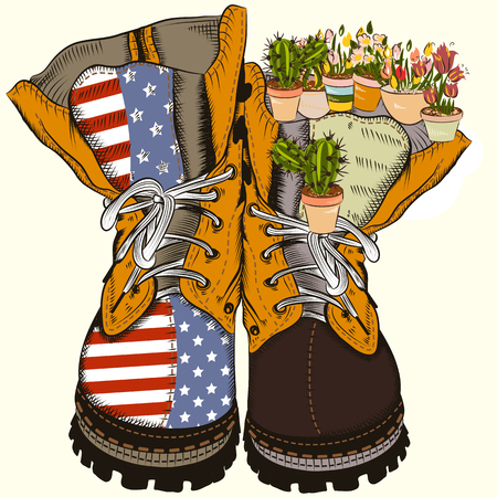 Fashion illustration with military boots with US flag and flowers. No war concept