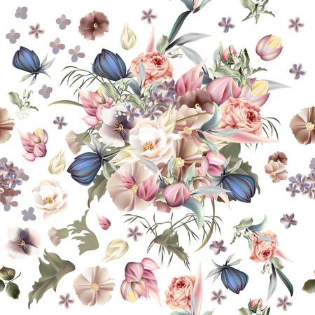 高い詳細な花を持つ花のパターン。ピンクのバラとライラック  イラスト・ベクター素材